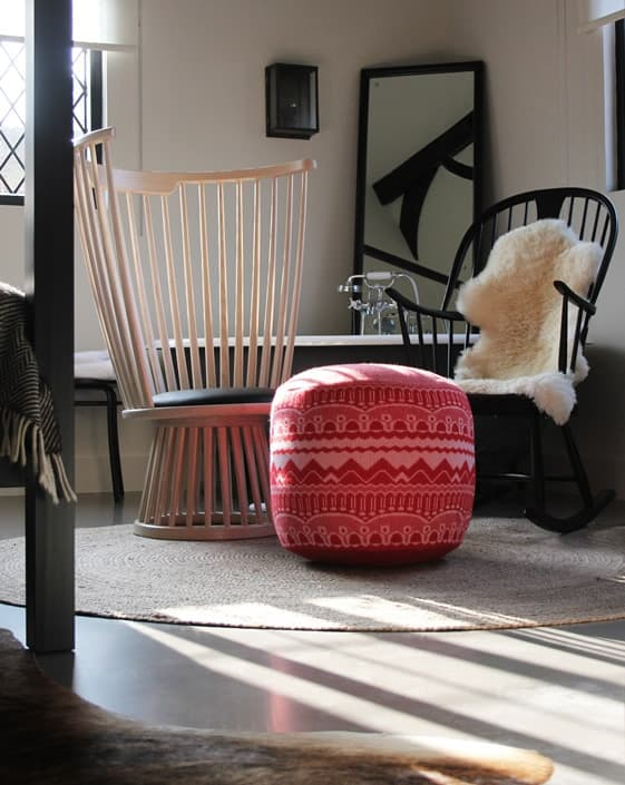 Windsor rocking chair and furry throw