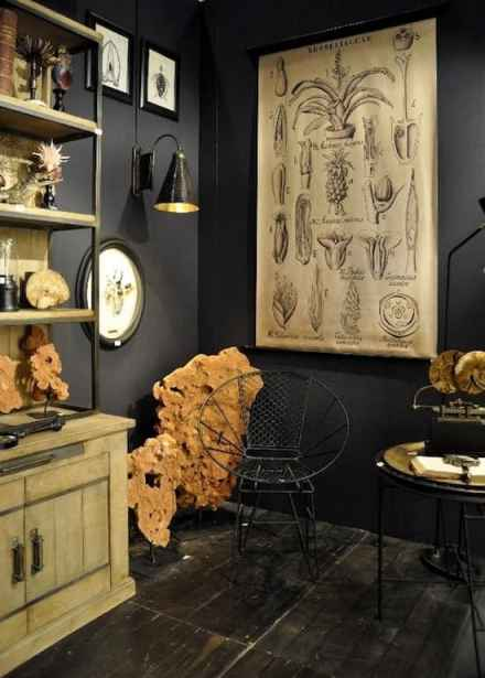 Black walls gothic home decor