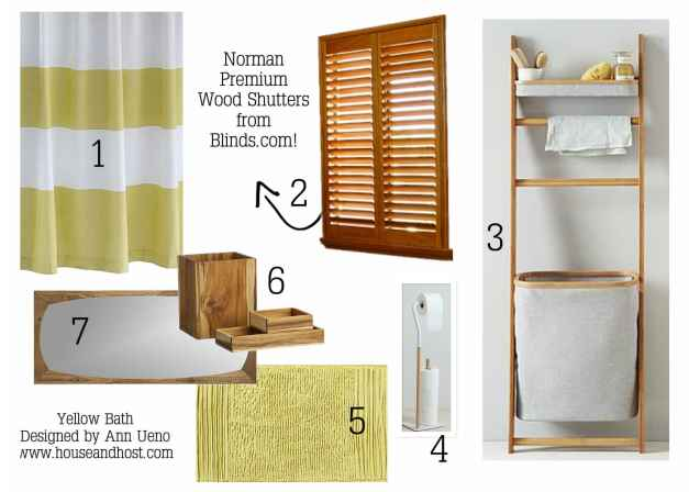 Yellow Bathroom with Wood Shutters from Blinds.com
