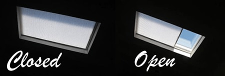 Skylight cell shades open close
