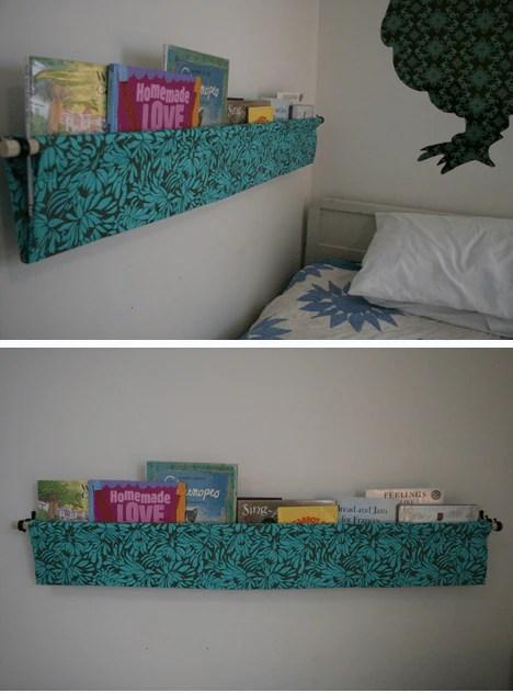 fabric hanging book shelf