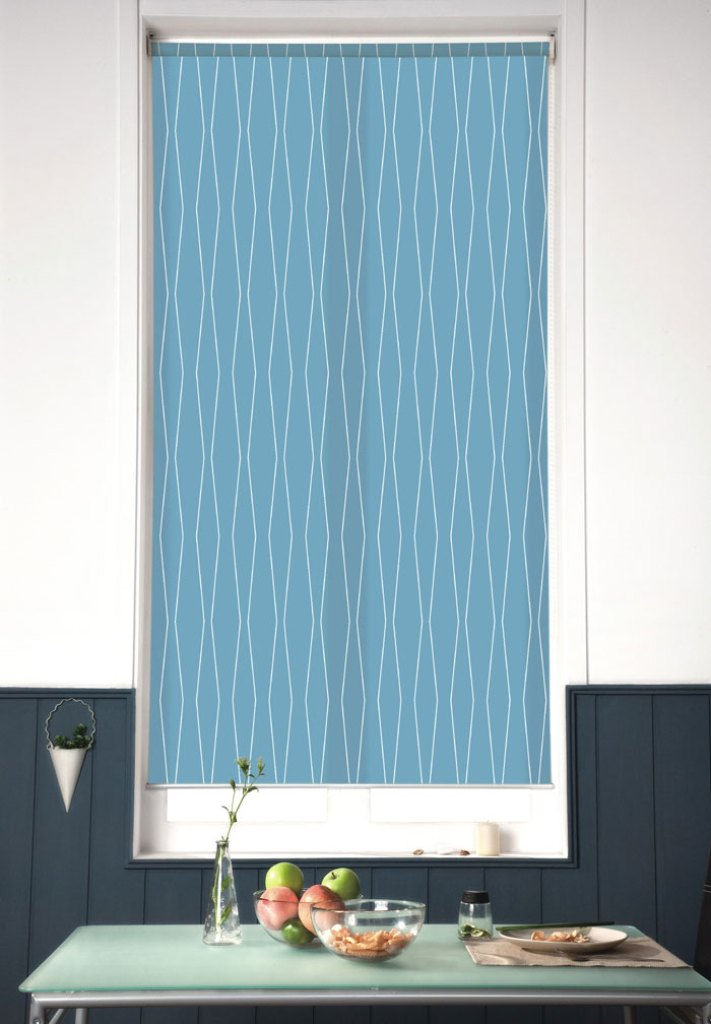 Blinds.com Architectural Roler Shades in Harlequin Cornflower