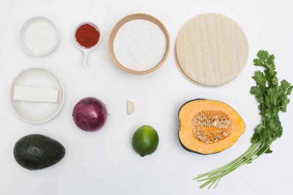 Ingredients For Acorn Squash Tempura Tacos