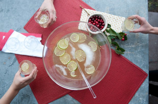 Ginger Gin Punch in A Bowl Being Served