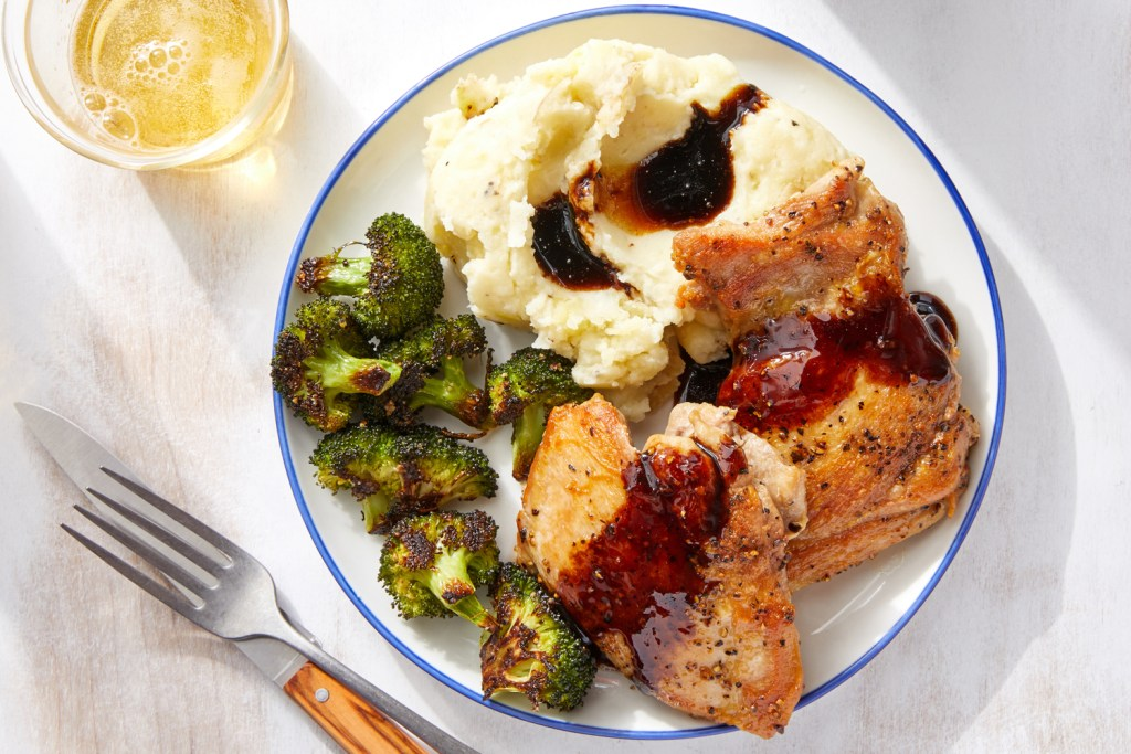 roasted chicken with mashed potatoes