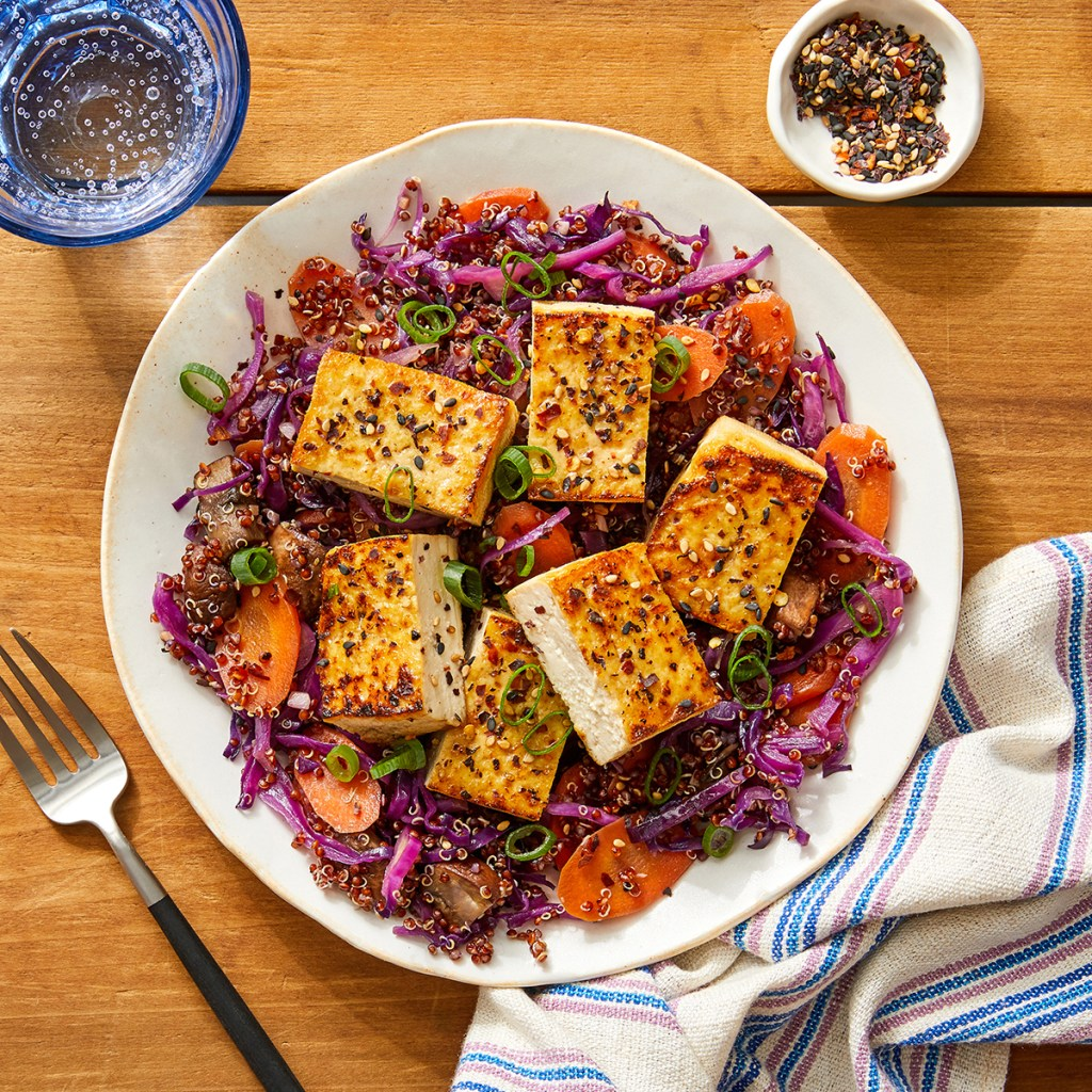 pressed tofu on cabbage
