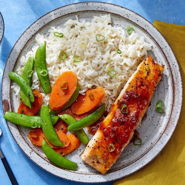 Seared Salmon with Chili Glaze & Rice