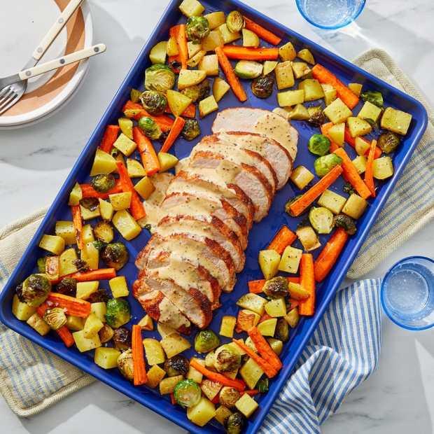 pork and vegetables roasted