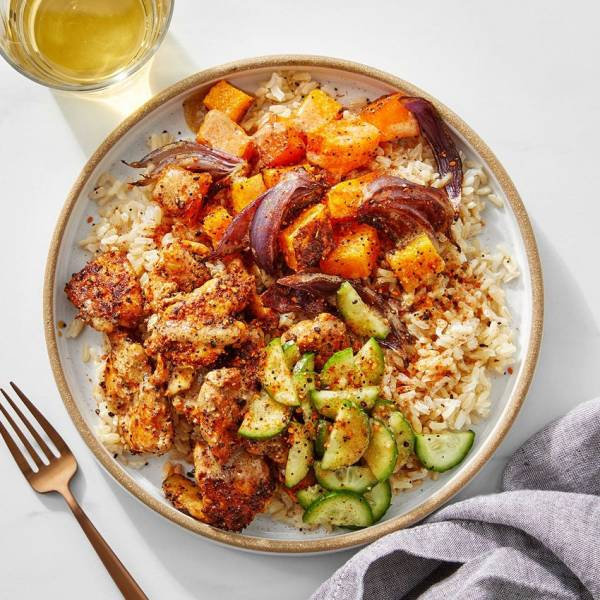 chicken and vegetables on rice