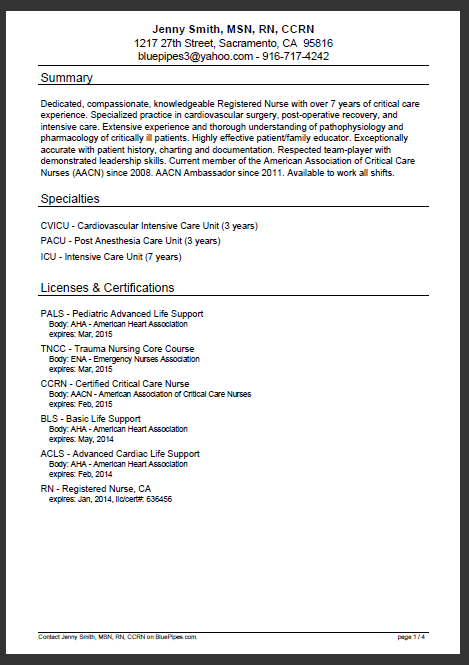 page 1 of a sample nursing resume rn resume from bluepipes