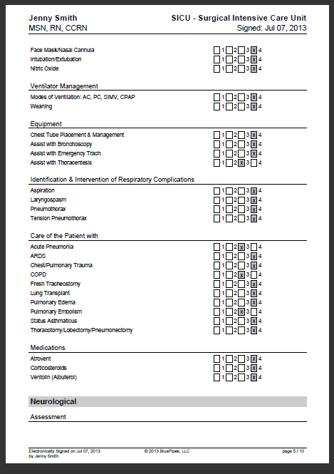 page 5 of a sample nursing skills checklist from bluepipes