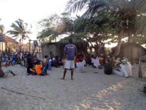 Villagers of Belalanda vote to elect the mangrove reserve committee members with Emmanuel, Blue Ventures' community organizer in Belo-sur-Mer
