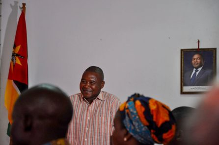 Nhusse, the park administrator, addresses the audience
