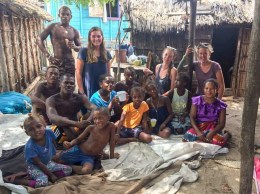 Volunteers with their homestay family