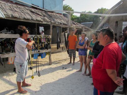 photo of Expedition Leader giving the students a tour of the BV Dive Camp