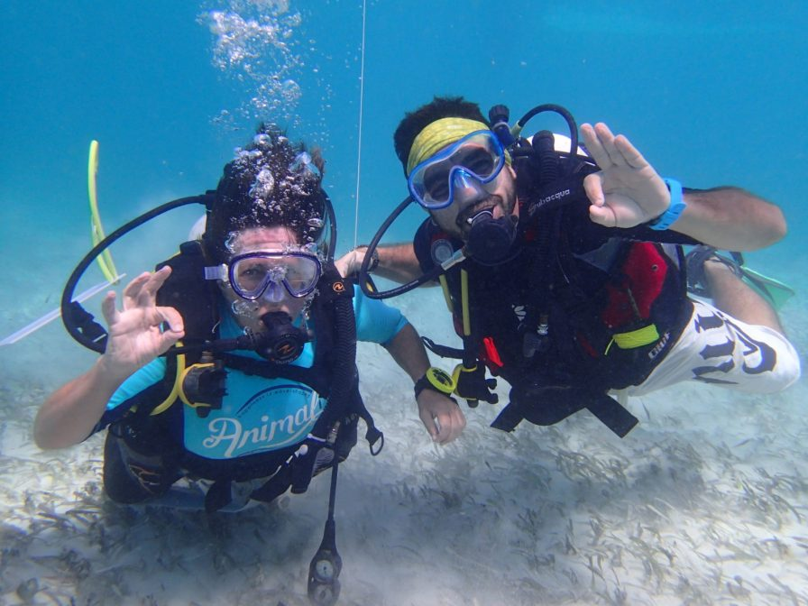 Davide leading dive training with a Blue Ventures volunteer | Photo: Jane Stephens