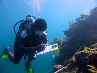 BV Field Scientist James surveying a reef in Madagascar