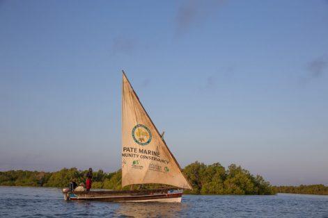 A fisherman from Pate Island with a community conservancy branded sail. © Mwangi Kirubi / TNC