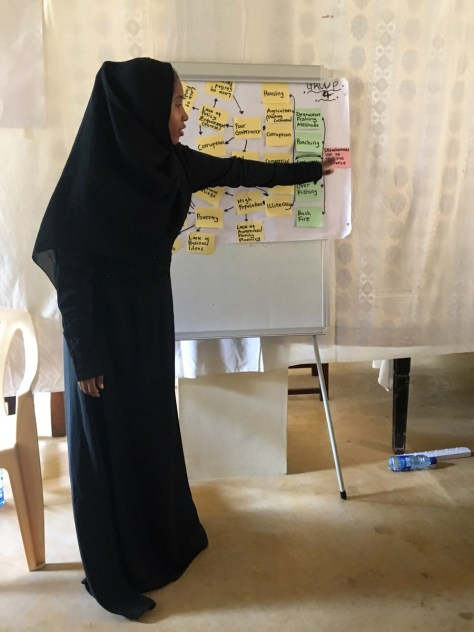 Amina from Lamu Youth Alliance presenting group work results