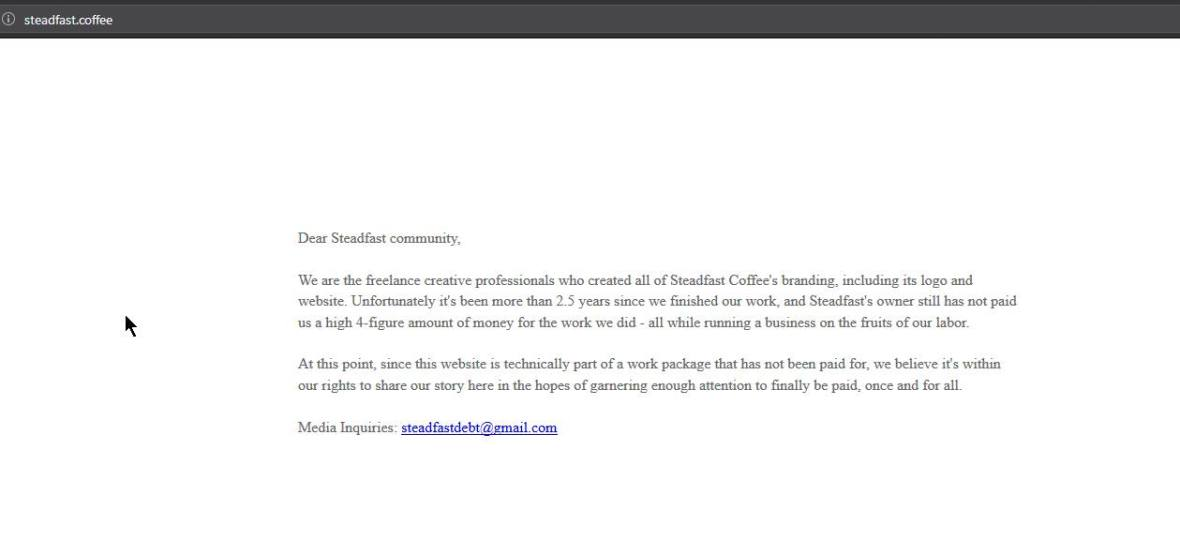 "Screenshot of the Steadfast Coffee homepage, taken over by the ""professionals"" that created it."