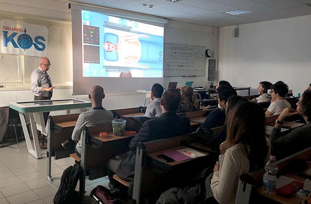 Professor using Body Interact in the classroom