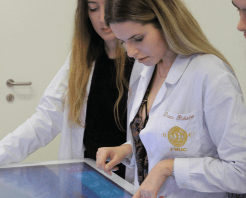 Medical Student practicing with Body Interact virtual patients