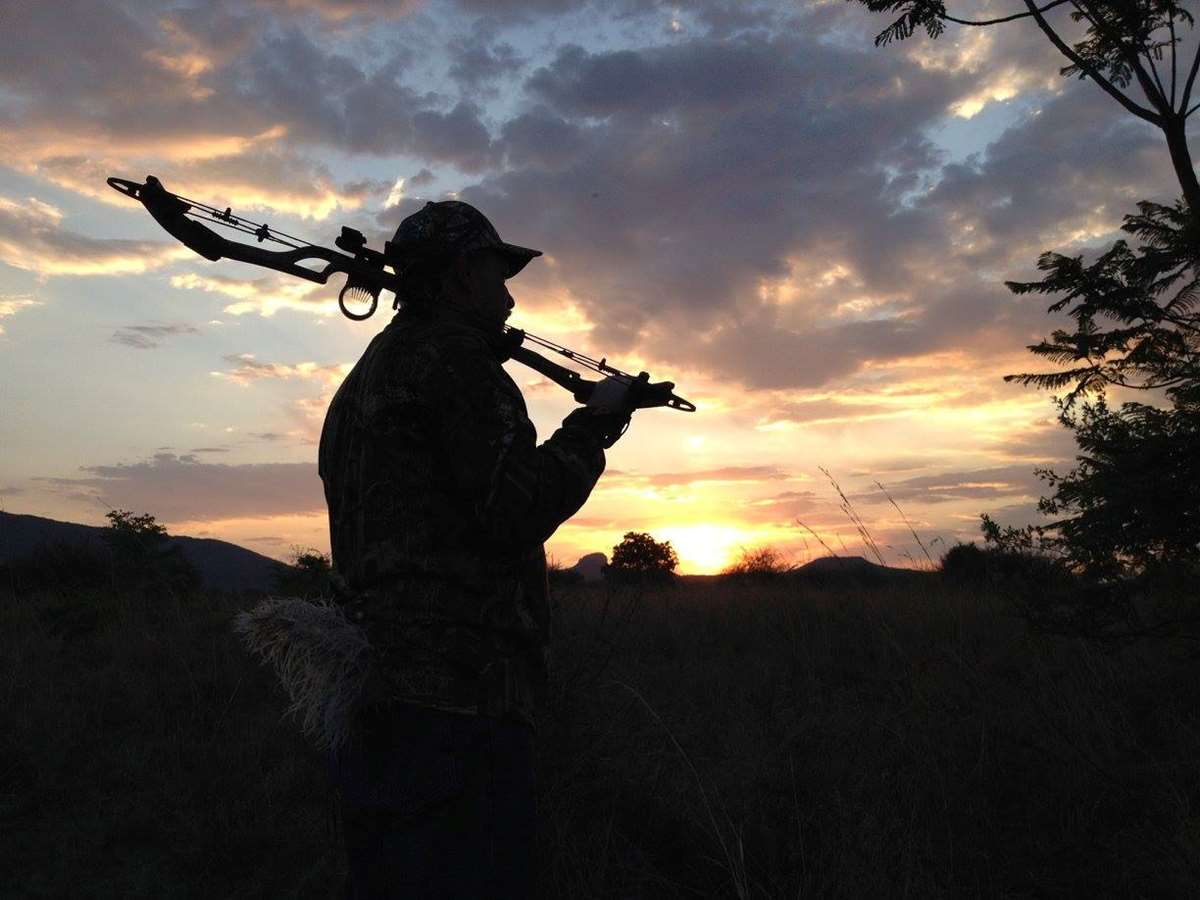 A hunter with a bow backgrounded by African sunrise