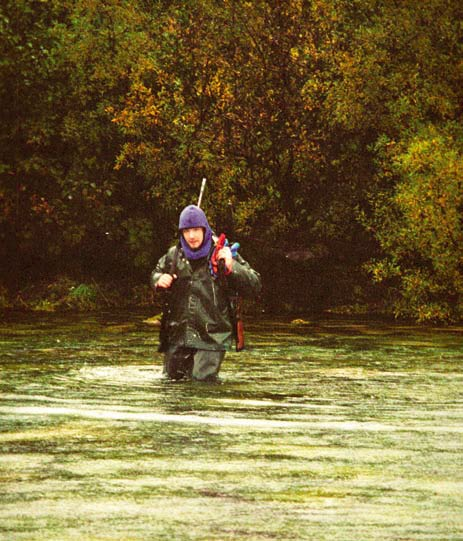 The hunter walks waist deep in Alaska river