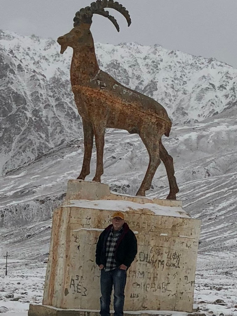 A monument to Ibex in the mountains of Tajikistan