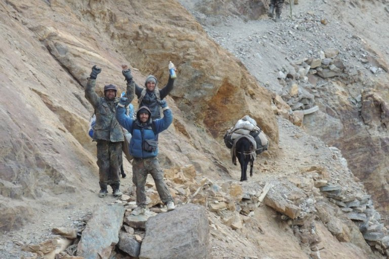 The team of guides thought nothing of the perils of the local mountain paths.