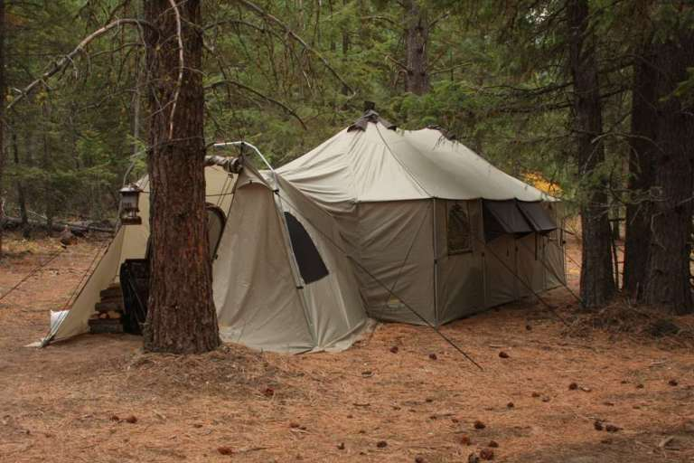 Tents in the Rocky Mountains where elk hunters stay