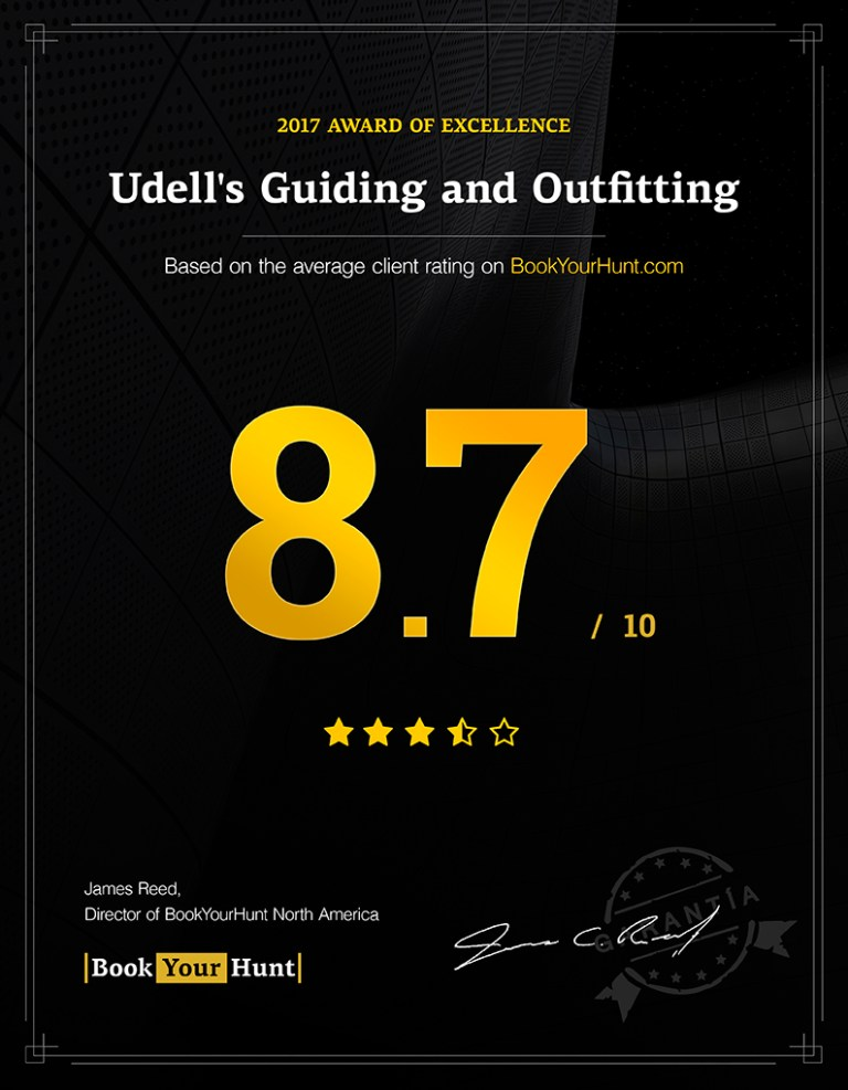 Udell's Guiding and Outfitting 8.7/10 consumer rating on BookYourHunt.com