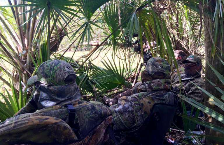 Hunters hiding from eyes of Osceola turkey