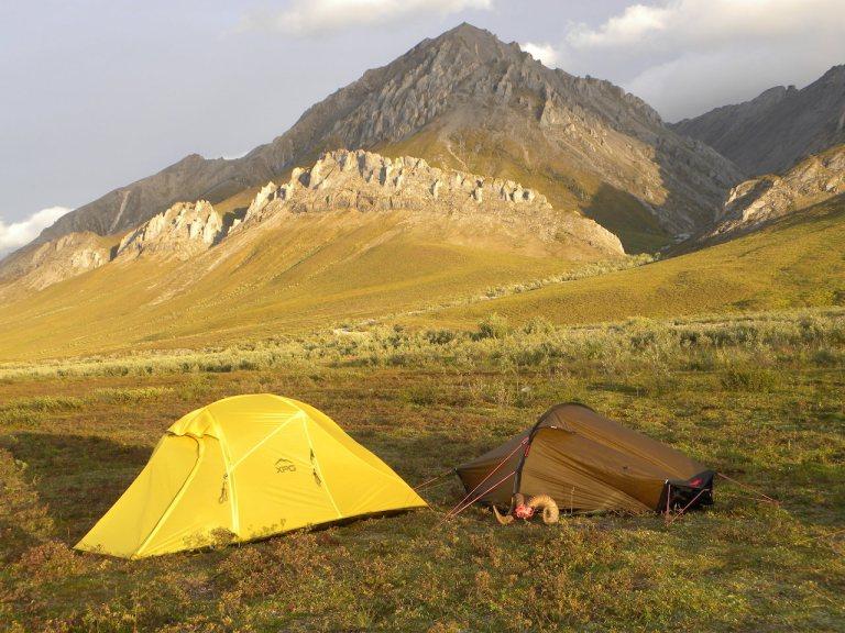 A tent camp in Alaska wilderness