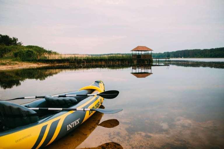 canoe and fishing hut