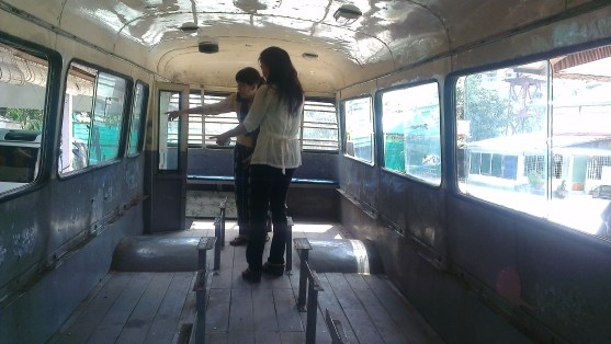 interior of the bus before renovation