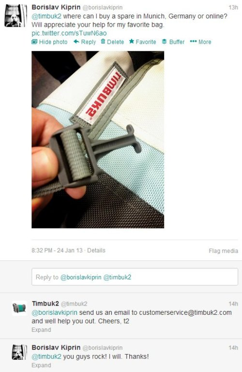 Twitter conversation with TIMBUK2