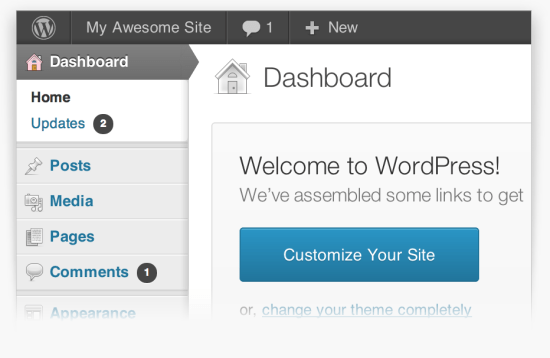 WP dashboard - multiple pages