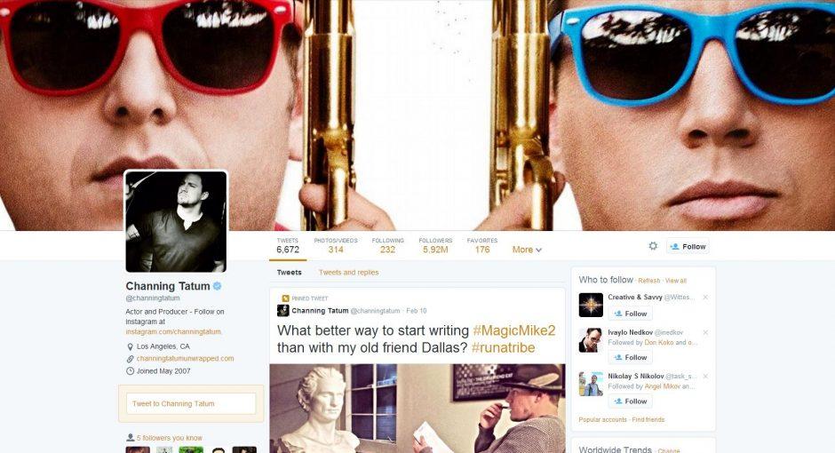 Channing Tatum Twitter profile