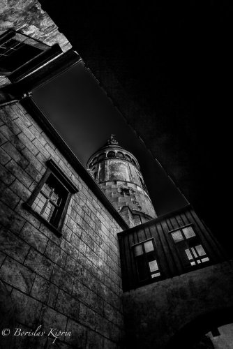 Krumlov tower BW