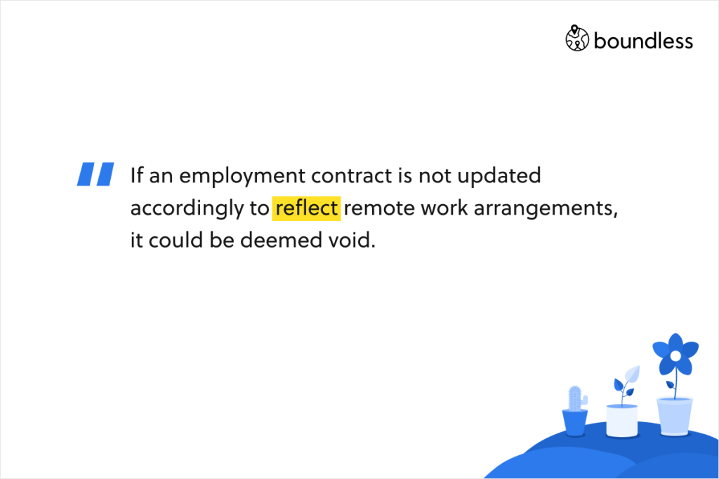 If an employment contract is not updated accordingly to reflect remote work arrangements, it could be deemed void.