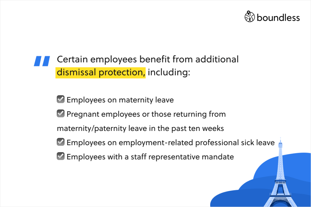 Certain employees benefit from additionaldismissal protection, including: ☑️ Employees on maternity leave ☑️ Pregnant employees or those returning from maternity/paternity leave in the past ten weeks ☑️ Employees on employment-related professional sick leave ☑️ Employees with a staff representative mandate