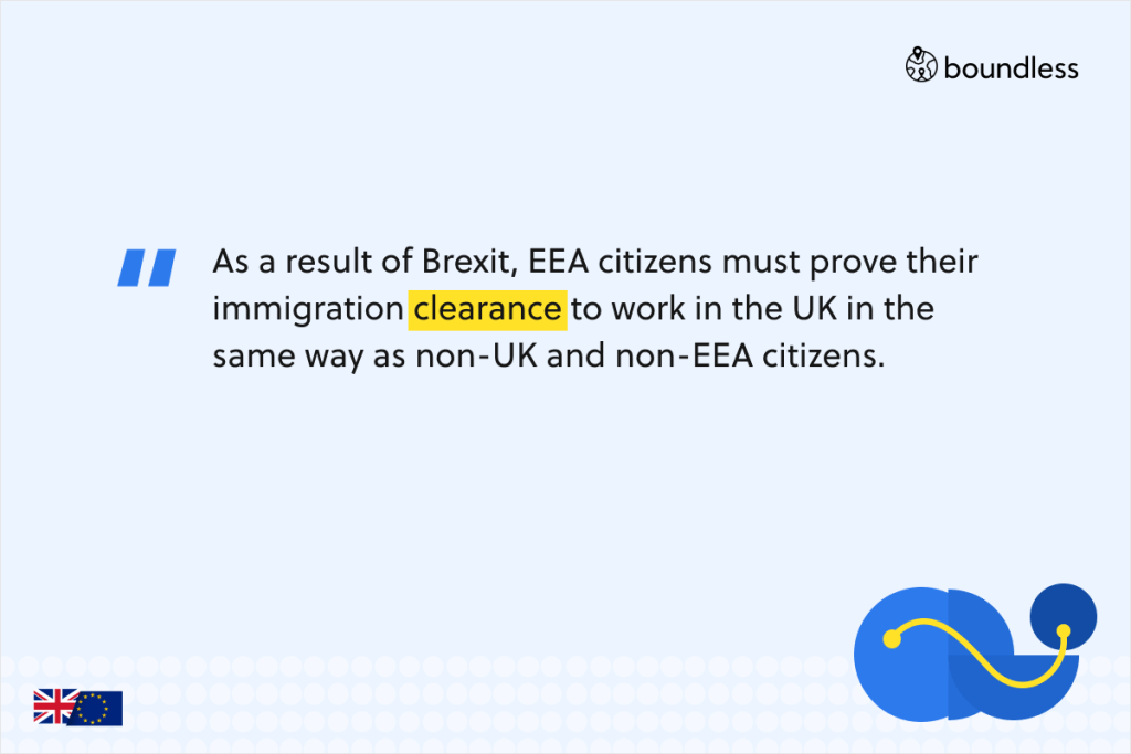 As a result of Brexit, EEA citizens must prove their immigration clearance to work in the UK in the same way as non-UK and non-EEA citizens.