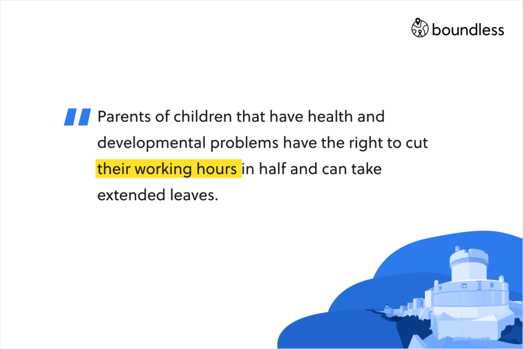 Parents of children that have health and developmental problems have the right to cut their working hours in half and can take extended leaves.
