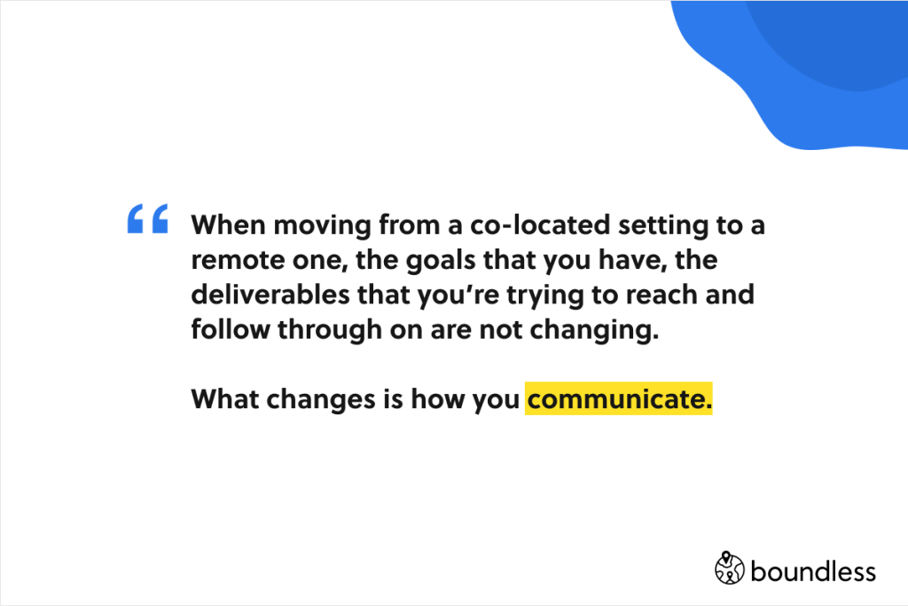 the only thing that changes when you move to remote work is how you communicate