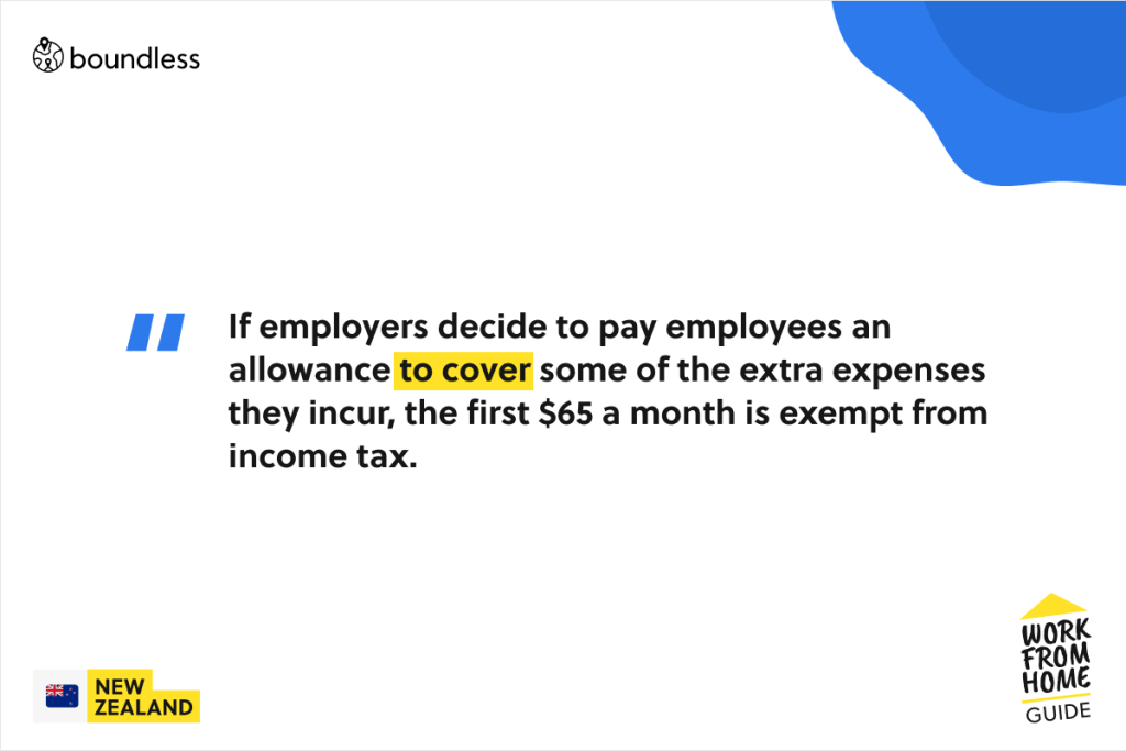 tax free allowance for working from home in New Zealand