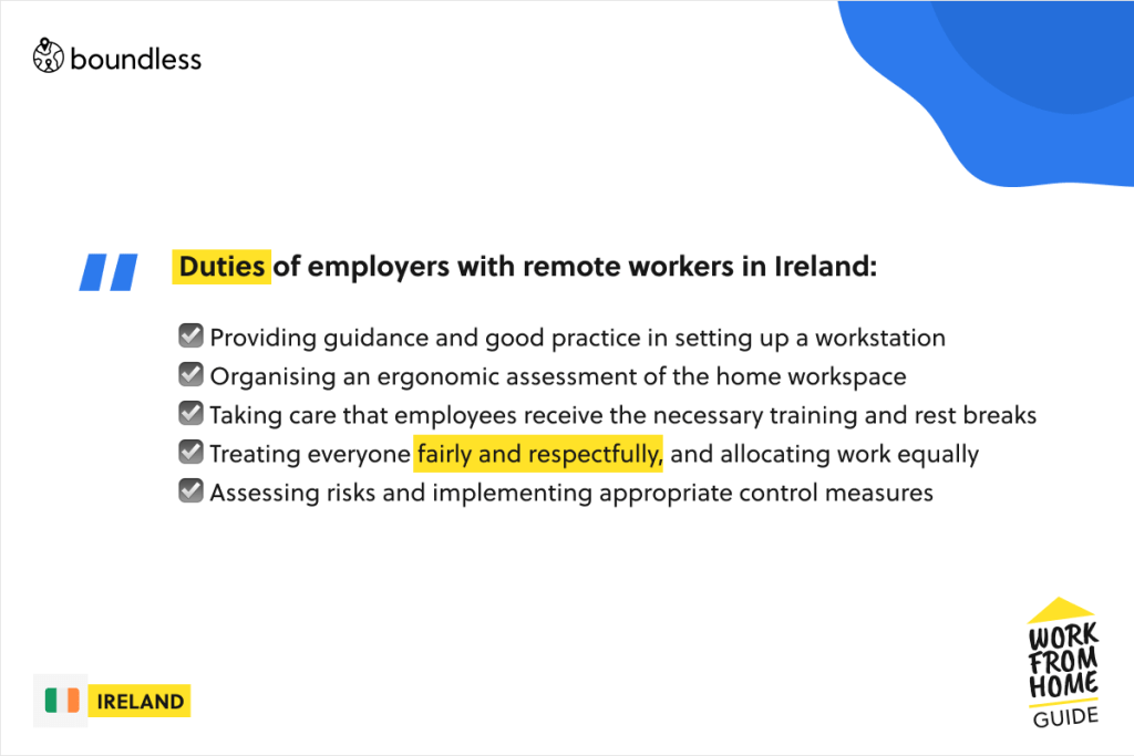 remote employer duties in Ireland