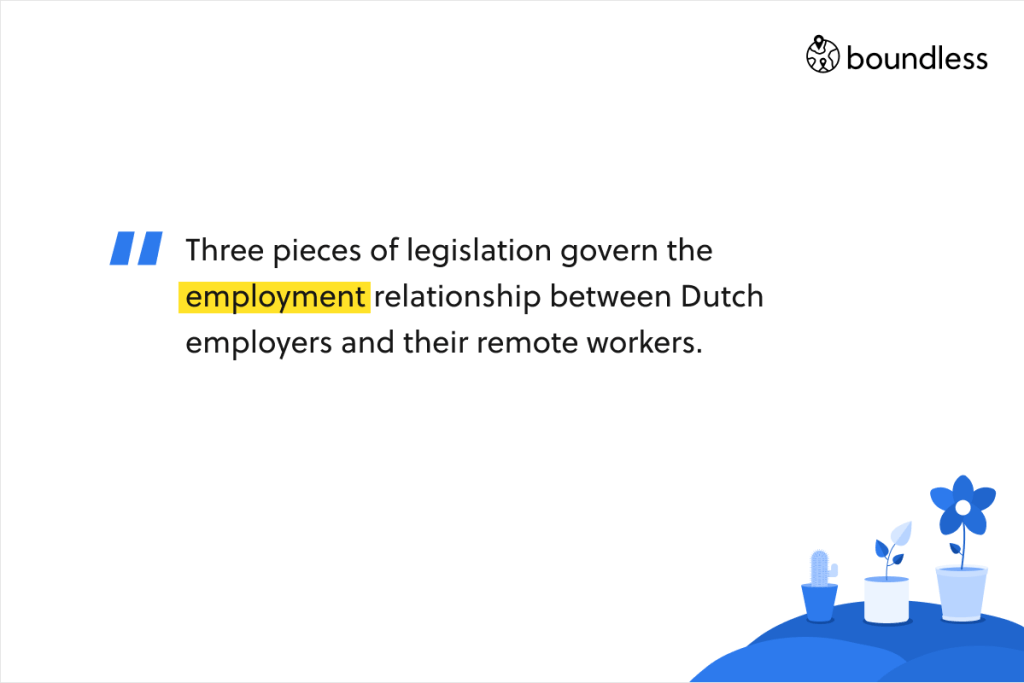 Three pieces of legislation govern the employment relationship between Dutch employers and their remote workers.