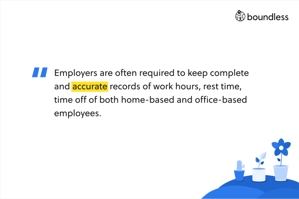 Employers are often required to keep complete and accurate records of work hours, rest time, time off of both home-based and office-based employees.