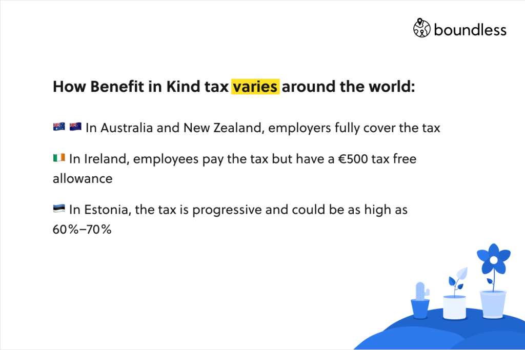 How Benefit in Kind tax varies around the world: 🇦🇺 🇳🇿 In Australia and New Zealand, employers fully cover the tax 🇮🇪 In Ireland, employees pay the tax but have a €500 tax free allowance 🇪🇪 In Estonia, the tax is progressive and could be as high as 60%–70%
